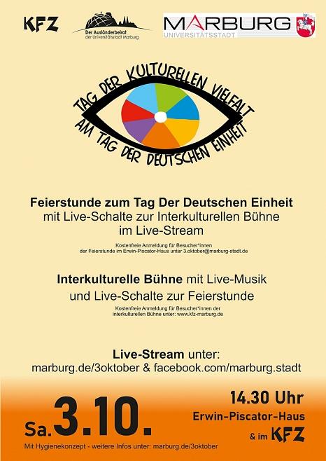 Plakat - Feierstunde zum Tag der Deutschen Einheit 03. Okt. 2020©Kultur- und Freizeitzentrum Marburg e.V.