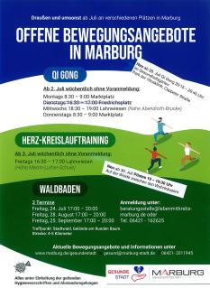 Plakat Offene Bewegungsangebote©Universitätsstadt Marburg