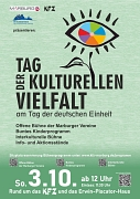 Die Stadt Marburg, der Ausländerbeirat und das KFZ warten auch in diesem Jahr zum Tag der Deutschen Einheit und Tag der kulturellen Vielfalt mit einem bunten Kulturprogramm auf.