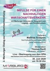 Plakat zum Tag der Mobilität, 2. Marburger Dialog zur Verkehrsentwicklung, 30. Juni 2020©Universitätsstadt Marburg