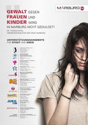 """Plakataktion """"Gewalt gegen Frauen und Kinder wird in Marburg nicht geduldet!""""©Universitätsstadt Marburg"""
