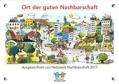 """Plakette des Gewinners """"Schönste Nachbarschaftsaktionen 2017""""©Universitätsstadt Marburg"""