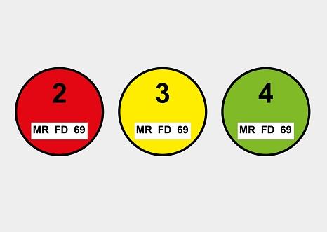 Plakettenmuster gemäß Anhang 1 der Kennzeichnungsverordnung (35. BImSchV) - rot - gelb - grün