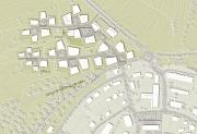 """Polygone Häuser inmitten von großzügigen Grünflächen, die sich in kleinen Gruppen um einen gemeinsam nutzbaren """"Hof"""" gruppieren – so sieht die Entwurfsplanung für den Hasenkopf aus."""