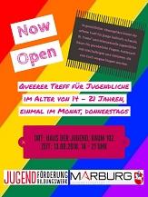 NOW OPEN, Queerer Treff für Jugendliche im Alter von 14 bis 21 Jahren. Nächster Termin ist der 13.09.2018. Start ab 18 Uhr.©Universitätsstadt Marburg