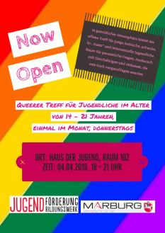 Ankündigung zum Queeren Treff 04.04.2019 - ein buntes Plakat mit den Informationen.©Universitätsstadt Marburg
