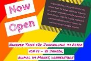 """Eine Grafik mit dem Text """"Queerer Treff - Now Open"""""""
