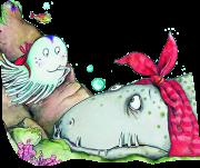 Cover des Bilderbuchs mit der kleinen Qualle, die aufmerksam die leidende Muräne betrachtet.