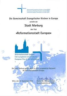 """Zur """"Reformationsstadt Europas"""" wurde die Universitätsstadt Marburg ernannt.©Gemeinschaft Evangelischer Kirchen in Europa"""