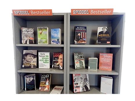 Graues speziell gekennzeichnetes Regal mit Sachbüchern aus der Spiegel Bestsellerliste.©Universitätsstadt Marburg