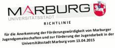Ein stilisierter Ausriss aus dem Titel der Förderrichtlinien für die Anerkennung der Förderungswürdigkeit von Marburger Jugendgemeinschaften und zur Förderung der Jugendarbeit in der Universitätsstadt Marburg vom 13.04.2015©Universitätsstadt Marburg