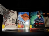 """Bücherregal mit Romanen in einfacher Sprache, darunter die Titel """"Tschick"""" und """"Dr. Jekyll und Mr. Hyde"""".©Universitätsstadt Marburg"""