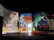 """Bücherregal mit Romanen in einfacher Sprache, darunter die Titel """"Tschick"""" und """"Dr. Jekyll und Mr. Hyde""""."""