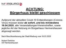 Schließung Bürgerhaus Hermershausen wegen Corona.JPG©Hubert Detriche
