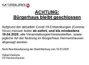 Schließung Bürgerhaus Hermershausen wegen Corona.JPG
