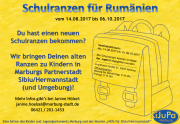 Der Flyer zur Schulranzenaktion 2017 vom 14.8. bis 6.10., mit den Kontaktdaten von Janine Hölzel, 06421 201-1453.