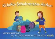 ein Comicbild mit zwei Kindern und verschiedenen Schultaschen