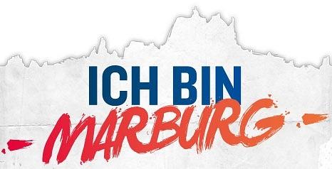 """Silhouette Marburg, Schriftzug """"Ich bin Marburg""""©GOLDfisch ART Marburg"""