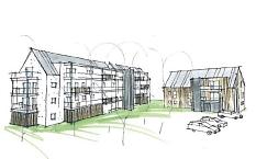 So soll der Neubau am Försterweg im Waldtal aussehen. Neben einem Einzelhaus soll ein Langhaus errichtet werden. Dabei wird auf eine Hybridbauweise – Kombination aus Massiv- und Holz – zurückgegriffen.©Universitätsstadt Marburg