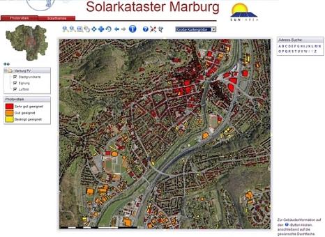 Screenshot des Marburger Solarkatasters