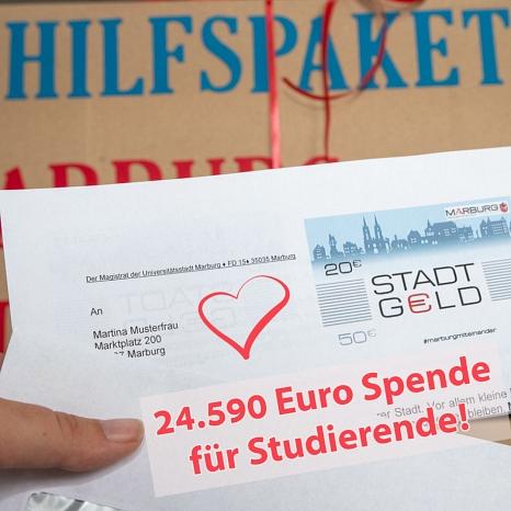 Genau 24.590 Euro haben die Marburgerinnen und Marburger von ihrem Stadt-Geld in den Corona-Nothilfefonds der Philipps-Universität gespendet.©Universitätsstadt Marburg