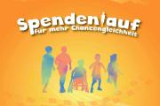 Der Text Spendenlauf für mehr Chancengleichheit, darunter 5 stilisierte Personen, eine*r im Rollstuhl.