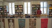 Besucherinnen lesen Zeitungen und Bücher beim Tag der Bibliotheken in der Stadtbücherei Marburg.