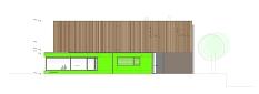 Diese Gebäudeseite des neuen zweistöckigen Zentrums zeigt nach Norden Richtung Rudolf-Breitscheid-Straße. Der grüne Baukörper ist die künftige Mensa.©Universitätsstadt Marburg