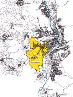 Städtebauliche Rahmenplanung Ockershausen, Lage im Gebiet©Universitätsstadt Marburg