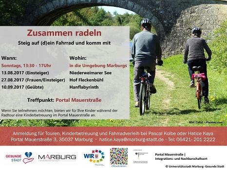 Ab Sonntag interkulturelle Begegnung auf gemeinsamen Fahrradtouren - die Stadt lädt zusammen mit Kooperationspartnern alle Neu-Marburgerinnen und -Marburg sowie Interessierte ein.©Universitätsstadt Marburg