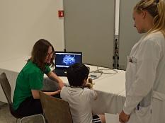 Um zu sehen, wie dem erkrankten Kuscheltier geholfen werden kann, schauten sich Ärztinnen und Teddy-Vater gemeinsam das Ultraschallbild an.©Stadt Marburg, Philipp Höhn