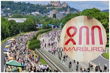 Ob Altstadtbilder eines Vereins oder queerer Tango an der Mittelleitplanke - das Mitmach-Event auf der Stadtautobahn gestaltet das Publikum selbst und bietet so eine Flaniermeile für die ganze Stadt und für überregionale Gäste.©Fotomontage Marburg800