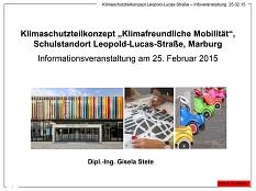 Titelbild der Präsentation zur Leopold-Lucas-Straße vom 25. Februar 2015©Universitätsstadt Marburg