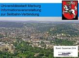 Titelbild des Vortrages von Dezember 2014 - Verkehrliche Anbindung der Innenstadt und des Campus Lahnberge©Universitätsstadt Marburg