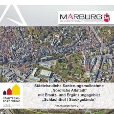 """Titelblatt der Abschlussbroschüre Städtebauliche Sanierungsmaßnahme """"Nördliche Altstadt"""" mit Ersatz- und Ergänzungsgebiet """"Schlachthof / Stockgelände""""©Universitätsstadt Marburg"""