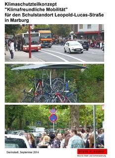 """Titelblatt des Abschlussberichts """"Klimaschutzteilkonzept """"Klimafreundliche Mobilität"""" für den Schulstandort Leopold-Lucas-Straße in Marburg©Universitätsstadt Marburg"""