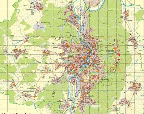 Karte der im Teilkonzept untersuchten städtischen Liegenschaften