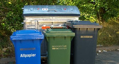 Das Foto zeigt eine Altpapier-, Bio-, und Restabfalltonne mit einem Container im Hintergrund.©DBM, Sonja Stender