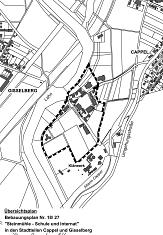 """Übersichtsplan zum Bebauungsplan Nr. 18/27 """"Steinmühle - Schule und Internat"""" in den Stadtteilen Cappel und Gisselberg, Offenlage©Universitätsstadt Marburg"""