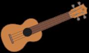 Eine Ukulele als Clipart mit dem Hals nach rechts.