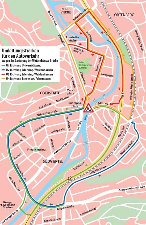 Umleitung für den motorisierten Verkehr©Universitätsstadt Marburg