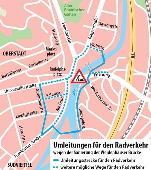 Umleitungen für den Radverkehr©Universitätsstadt Marburg