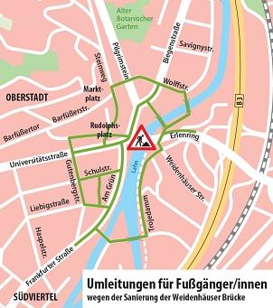 Umleitungen für Fußgänger/innen©Universitätsstadt Marburg