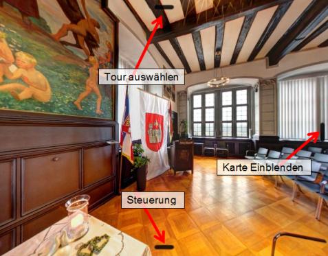 Veranschaulichung Steuerung virtuelle Tour©Universitätsstadt Marburg