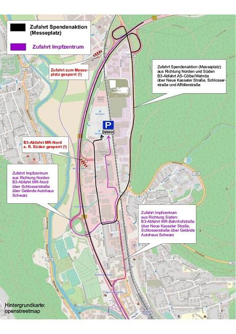 Die schwarze Strecke führt zur Spendenaktion, die lilafarbene zum Impfzentrum.©Universitätsstadt Marburg