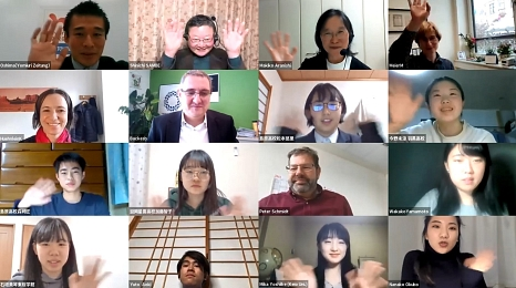 Vertreter*innen der Stadt Marburg haben in einer Videokonferenz mit Oberschüler*innen aus Japan über Inklusion gesprochen.©Universitätsstadt Marburg
