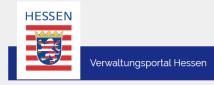 Wappen von Hessen links, mit Schriftzug Verwaltungsportal Hessen rechts.