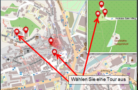 Virtuelle Tour Trauorte Karte©Universitätsstadt Marburg