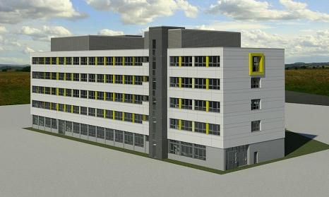 Mit der neugestalteten Fassade wird das Gebäude E der ARS modernisiert und durch die Farbgebung lebendig und einladend sein.©Universitätsstadt Marburg