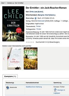 Anzeige von Titelinformationen mit Cover©Universitätsstadt Marburg